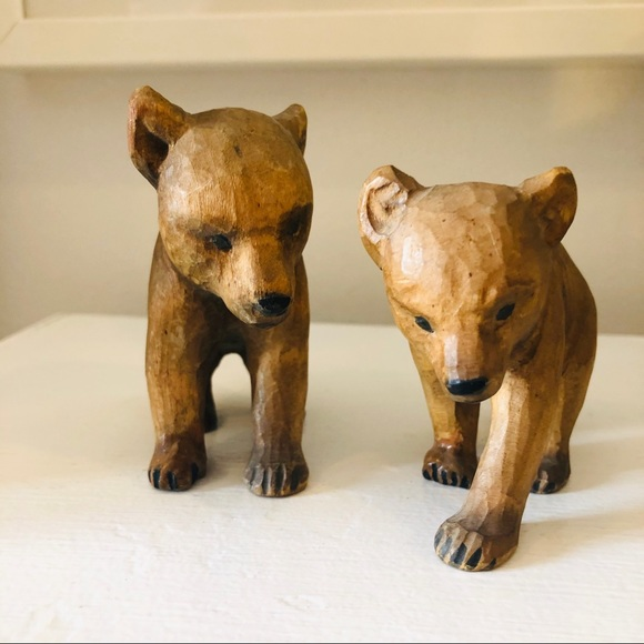Two vintage hand carved bears